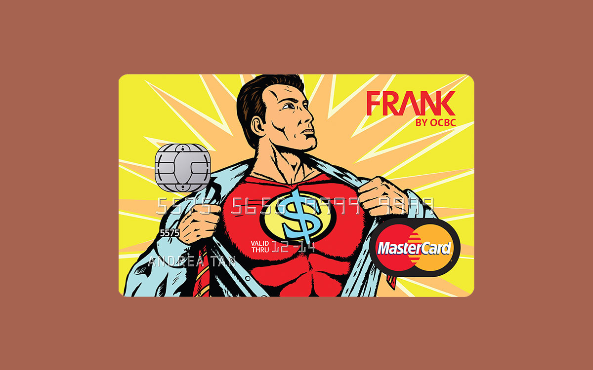 A card design featuring a graphic superhero for FRANK by OCBC