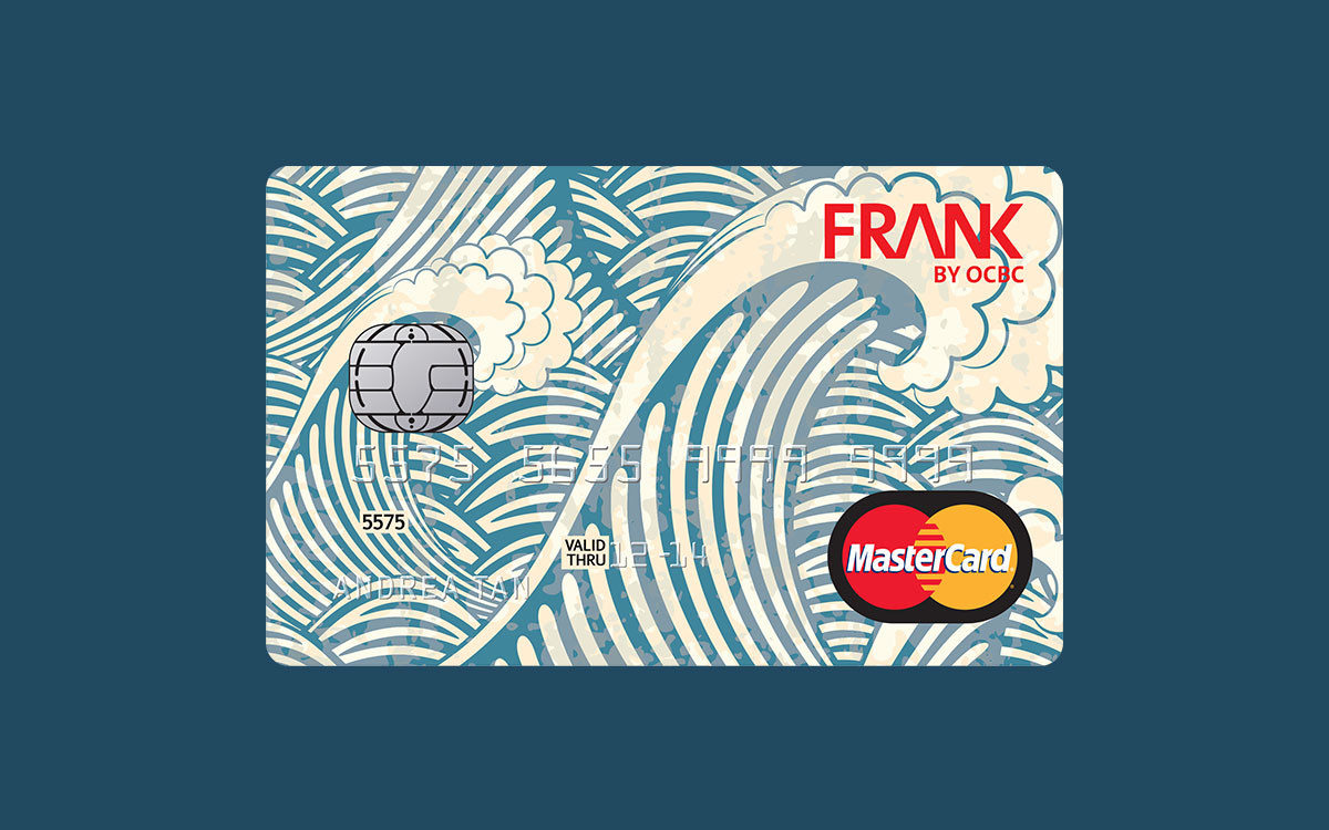 A card design featuring graphic blue waves for FRANK by OCBC