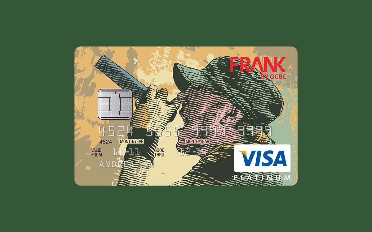 A card design featuring a graphic singer for FRANK by OCBC