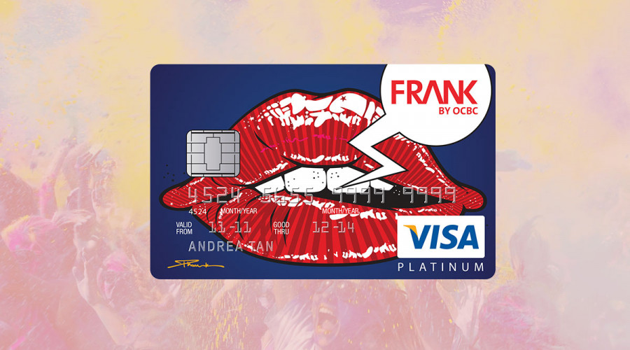 A card design featuring graphic red lips for FRANK by OCBC