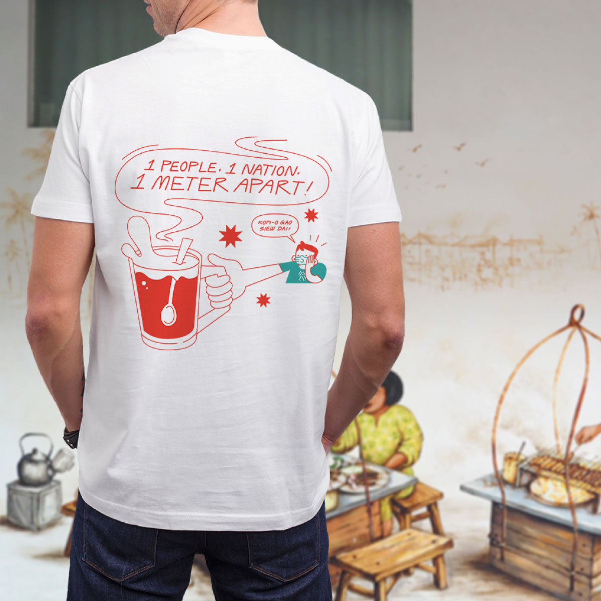 A model wears one out of four hawker-themed tee designs for sale to raise funds for a food charity organisation