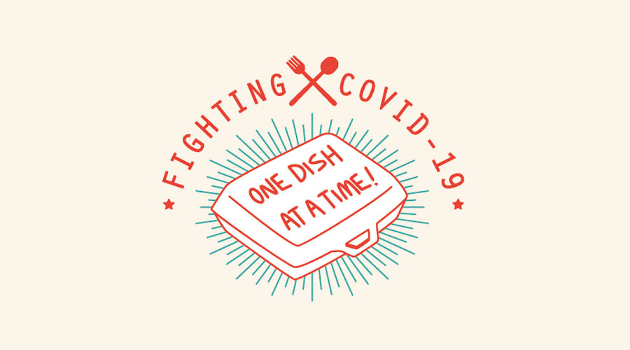 """Logo that reads """"Fighting COVID-19 One Dish at a Time"""", Wild's passion project to show appreciation to hawkers"""