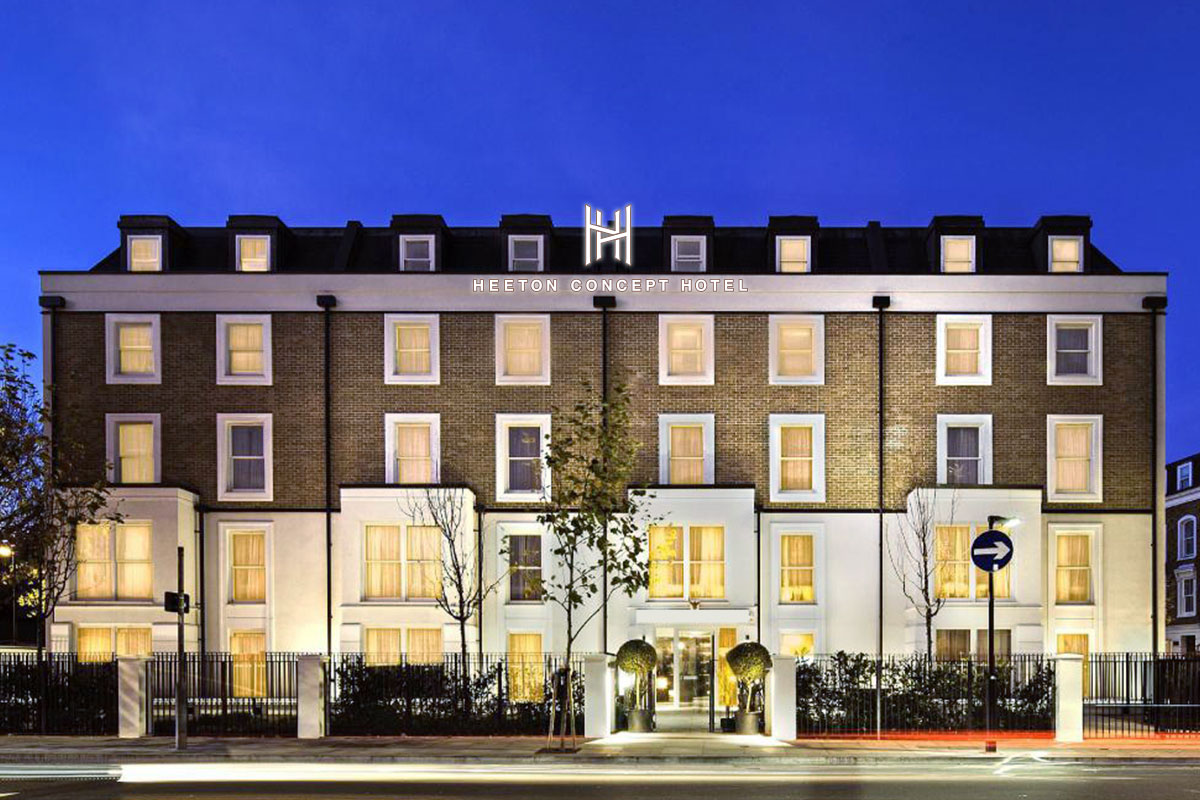 Wide exterior shot of a Heeton Concept Hotel in Hammersmith, London