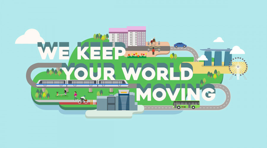 """An illustration of transportation across the city with text that read, """"We Keep Your World Moving"""" for LTA"""