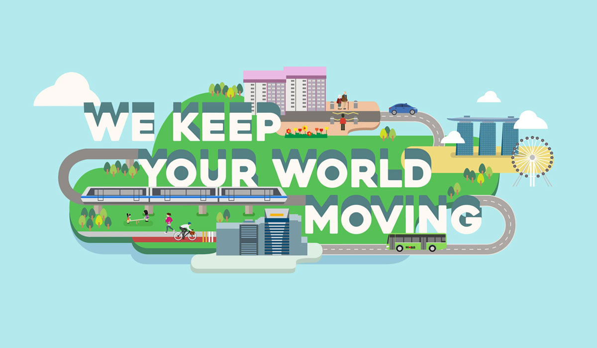 """An illustration of transportation across the city with text that reads, """"We Keep Your World Moving"""" for LTA"""