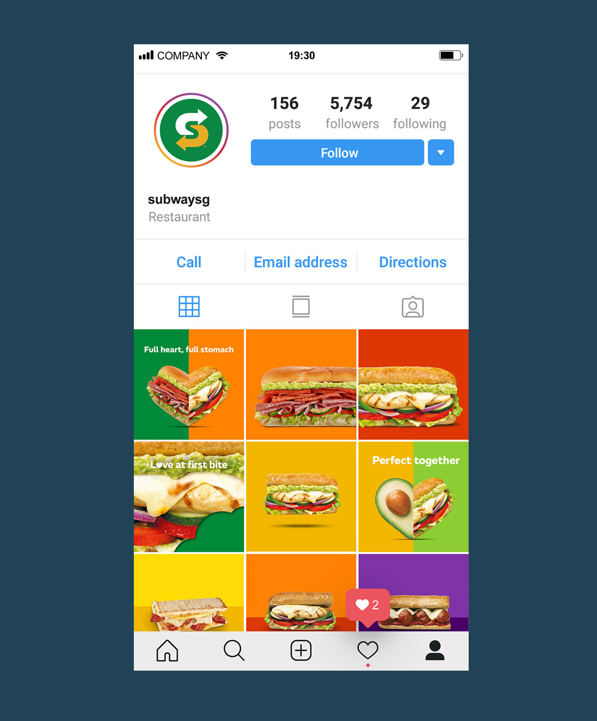A seamless grid on Subway's Instagram page, formed by  visually striking visuals of sandwiches and fresh ingredients
