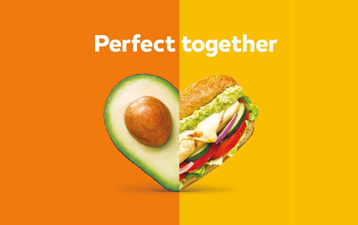 """A Subway sandwich and an avocado form a heart under the text, """"Perfect together"""", for an integrated campaign"""