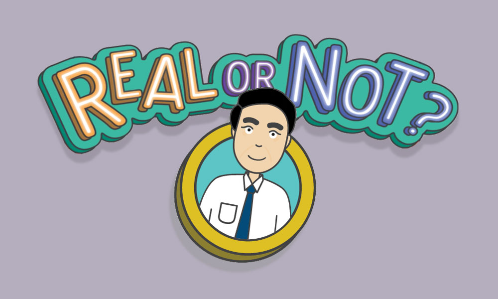 """The """"Real or Not?"""" logo over an illustration of Mr CPF, a consistent character in the mythbusting series"""