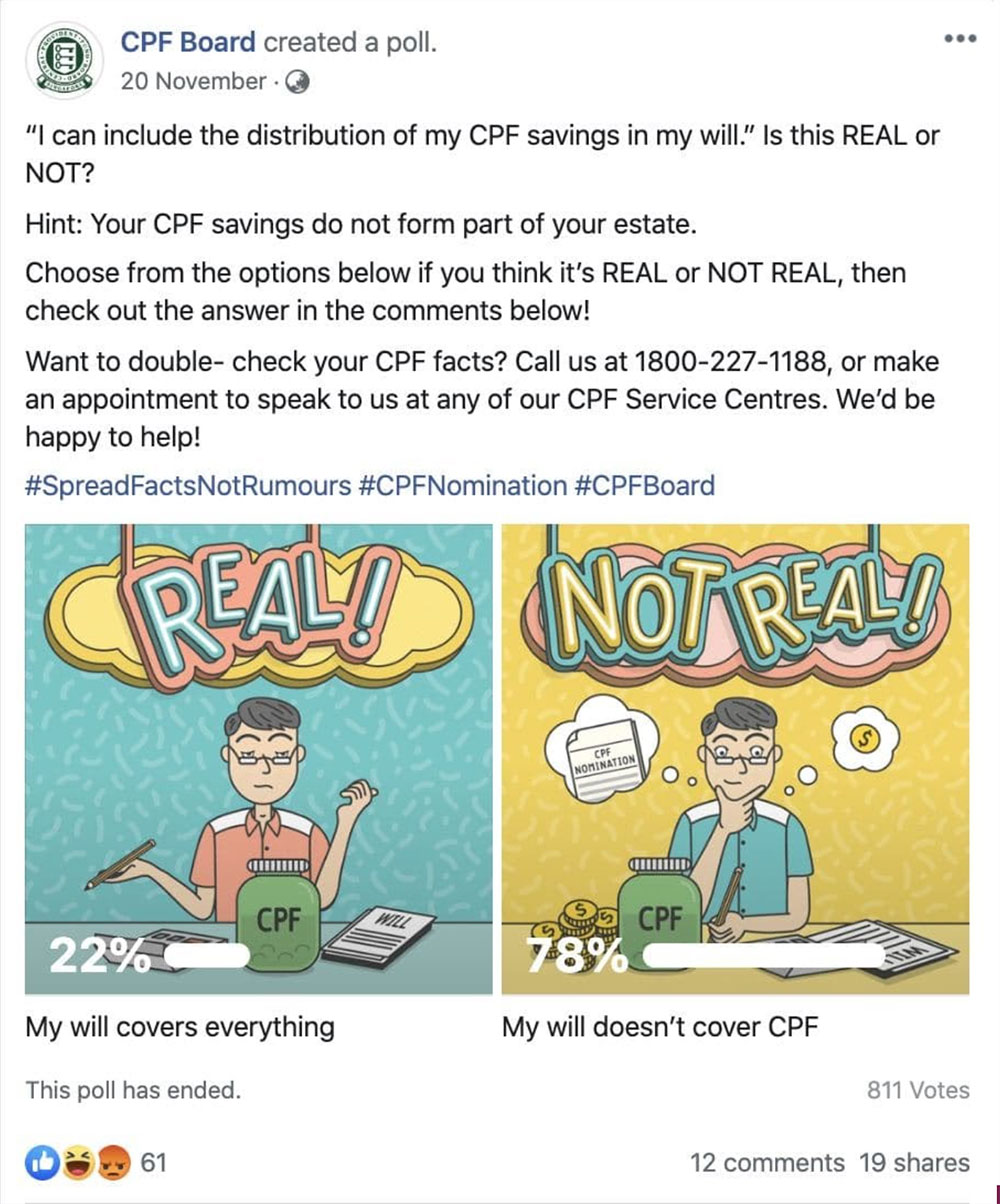 A Facebook post on CPF Board's page, demonstrating the use of a poll to clarify if a rumour was real or not