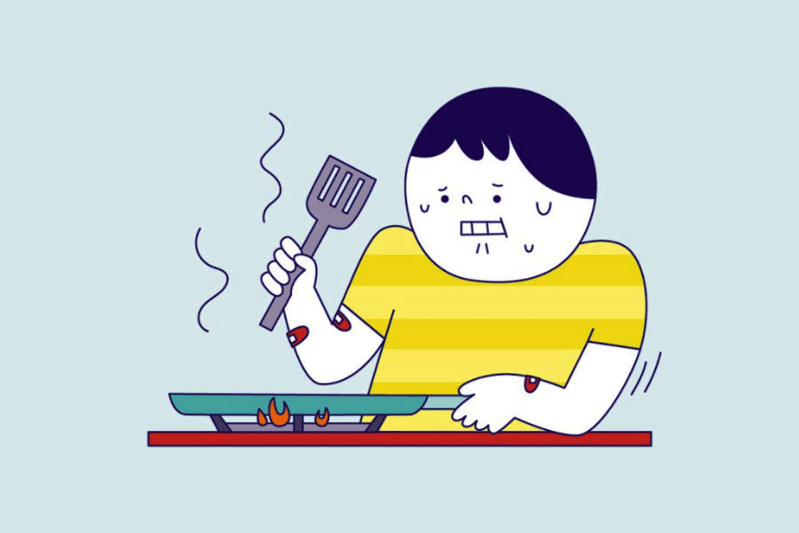 An illustration of a man looking nervous while handling a pan on a stove, featured on MSIG's Instagram