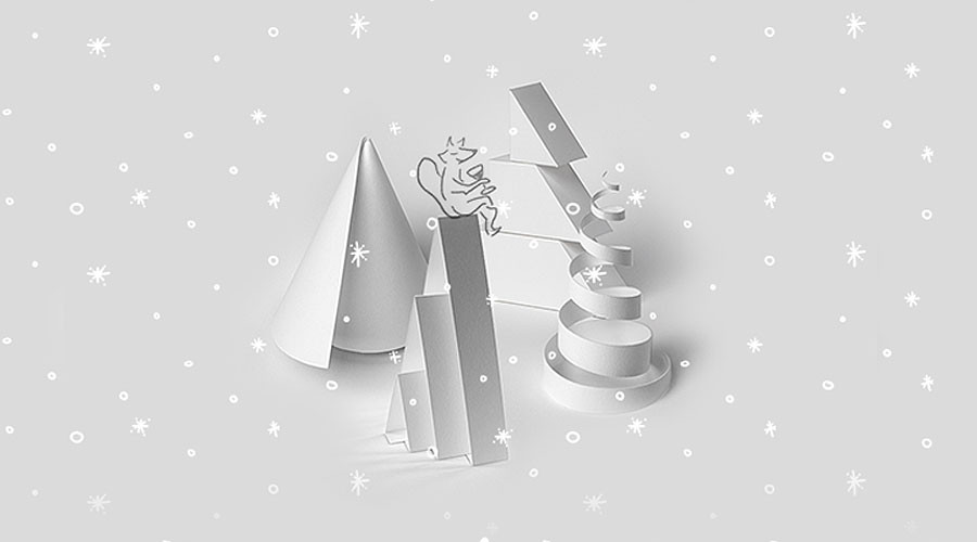 A gif of snowflakes falling over 3D paper Christmas trees for Wild's augmented reality passion project