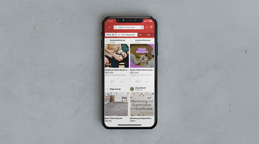 A Carousell app interface shows WSG job ads part of Carousell listings as native advertising